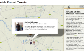 Geocoded tweets from Zamdela protests – visualised by Watipaso Kaliwo